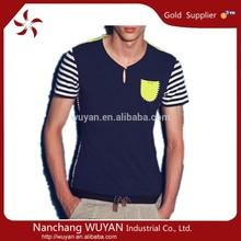 wholesale high quality spandex Custom long sleeve V-neck collar pocket men t-shirt