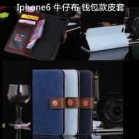 New Style Jeans Pattern Leather Wallet Case For Iphone 6 , Top Quality Hot Sale Jeans Wallet Case For Iphone 6