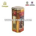 Octagonal food grade metal coffee packaging box with hinge lid and pvc window CD-009