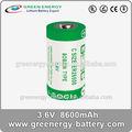 Pilha seca c tamanho 3.6 v er26500 8600 mAh bateria de lítio 3.6 v li / socl2 bateria