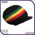 rasta reggae de punto beanie sombrero con visera estilo bob