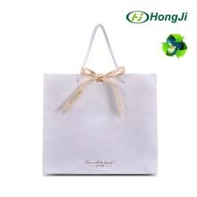 Ribbon Decorated LOGO Printed Custom White Kraft Paper Bag Design