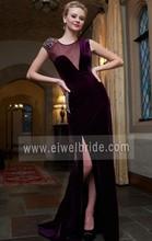 Sexy See Through Back Beaded High Split Short Sleeve Velvet Evening Dresses