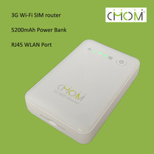 Dual-mode WCDMA EVDO SIM wifi router with power bank 5200mAh with RJ45 WLAN port --- G2-B