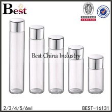 2/3/4/5/6ml transparent glass vial with metal lid, tube glass bottle wholesale, small glass bottle for perfume