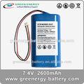 Batería del li-ion pack 7.4v icr18650h2- 2s1p mejor 18650 pilas y baterías 2600 mah batería para ups
