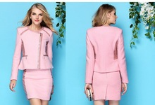 fall winter famous brand women business suit made with tweed and pu leather