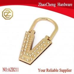 42 x 79 mm V shape bag hardware custom purse hardware with crystal