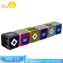 rechargeable mini portable LCD screen speaker SD/TF / usb speaker with radio LED flash light mp3 /mp4/ cellphone speakers