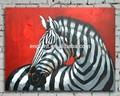 Noir et blanc art peinture à l'huile sur toile de zebra