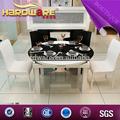 vidro temperado mesa de jantar e cadeira de 6 seaters extensionable e