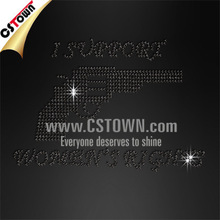 I support women's right custom hot fix rhinestone designs for jeans