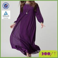 Autumn new women Flutter chiffon dress muslim long sleeve maxi dress