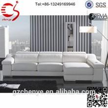 White genuine l shaped leather sofa