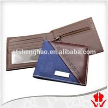 Fashion Passion charm male Metal decoration leather denim fabric men's Wallet