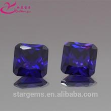 Hot selling octagon ink blue artificial stone purple gemstone jewlery
