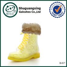 transparent pvc rain boot ladies sex rubber rain boots B-817