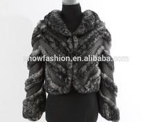 Elegant 2014 new fashion real rex rabbit fur with lamb leather strpe knitting jacket