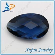 pear shape blue glass gemstone bead
