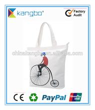 Cotton canvas reusable folding shopping bag eco-friendly cotton canvas material
