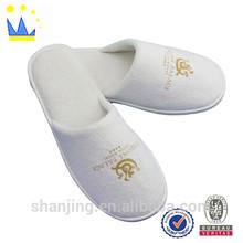 eva sole white terry printed logo disposable slipper factory
