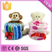 Wholesale toys plush monkey with soft blanket, super soft blanket