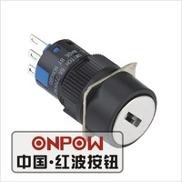 ONPOW 16mm key lock round selector push button switch(LAS1-AY-11Y/2) (Dia. 16mm)(CE,CCC,ROHS,REECH)