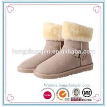 2015 Luxury rabbit fur warm winter boots for ladies