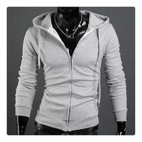 Freeshipping moq.10pcs wholesale six solid colors choice slim design zipper cardigan style men's European fashion sweatshirts