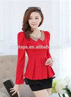 latest shirt korean clothes designs woman blouse lace transparent laides top red elegant blouses in lace