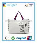 Cotton canvas nylon shopping bag natural colour with logo printing