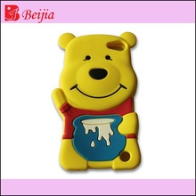 3d lovely bear silicone mobile phone case wholesale