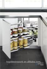 Kitchen cabinet design iron basket magic corner with antiskid