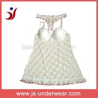 Sexy bedroom night wear, Wholesale lace for sleep wear & panty sets JS-343, Accept OEM