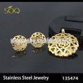 Yiwu China 18 k banhado a ouro oco Floral colar e brincos moda Set jóias