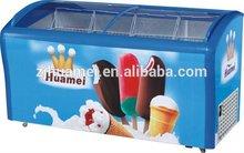 ice cream cooler Chest / Deep Freezer curved glass display freezer
