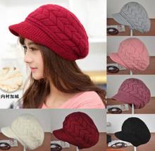 Women's Winter Warm Crochet Knitting Hat Wool Beret Ski Beanie Ball Caps