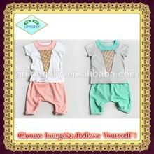 2014 children's summer suits unisex suit summer models cotton short-sleeved suit