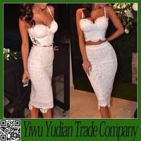 Fashion 2014 Celebrity White Bodycon Two Piece Women Dresses