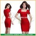 сексуальные дамы тюльпан рукавом платье элегантный стиль стороны красный с коротким рукавом платья