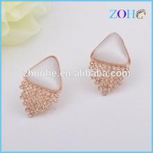 china new stunning Hot costume pure opal & diamond studs gold fashion girl earrings