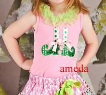 Xmas Lime Green Ruffles Colorful Polka Dots Elf Light Pink Tank Top Tee