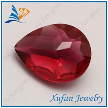 beautiful red color pear shape clear large glass gems