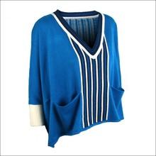 Blue striped crewneck long sleeve women's 100% acrylic pullover women DMJ-SW012