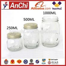 1000ml clear glass ball jam/jelly storage jar with tin lid