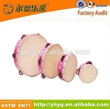 Wood Shell Sheep Skin Head Tambourine Hand Drum with Bells