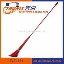 red color 1 section flexible fiberglass mast car decorative antenna