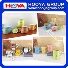 Animal Printed Ceramic Mugs Ceramic Cups Porcelain Mug With Ceramic Lid