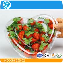 Transparent Heart Shape Fruit Blister Packaging Box , Plastic Container with Lid