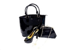 wholesale top quality fashion italian women shoes matching bags for wedding/party BLM-1 black